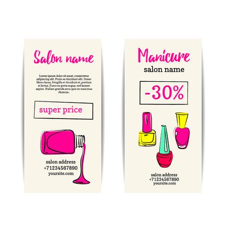 Nagellack-Flyer. Vector Reihe von Maniküre oder Gutschein-Coupons. Entwurf für einen Schönheitssalon oder Nagelkünstler.