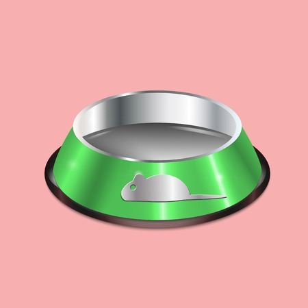 silver ware: Pet dish. Empty metallic cat plate. Green chrome shiny food bowl with a mouse. Pet supply on pink background. Black edging. Illustration