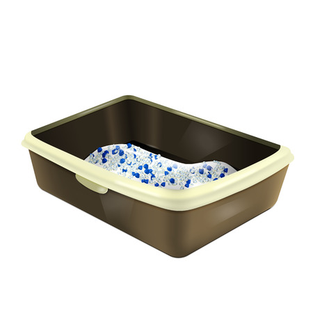 Cat litter box. Plastic catbox filled with crystal litter. Isolated litter tray with silica gel. Ilustrace