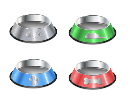 Set of pet dishes. Empty metallic cat plates. Collection of chrome shiny food bowls.