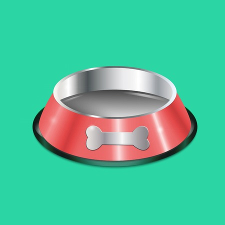 Pet dish. Empty metallic cat plate. Red chrome shiny food bowl with a bone.