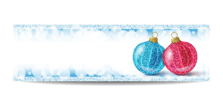 silver frame: New Year banner template with Christmas balls. Blue background with bokeh, snow, fog and snowflakes. Silver frame. Glitter sequins. Flyer and coupon design template. Vector EPS10 illustration.