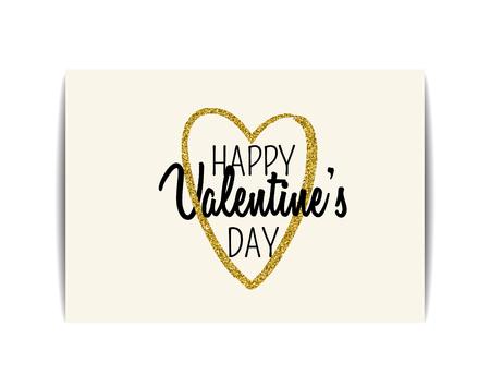 """Tarjeta tipográfica de San Valentín con símbolo de amor. Texto """"Feliz día de San Valentín"""". Corazón dorado con lentejuelas brillantes. Diseño para invitación de fiesta, camiseta, etiquetas, tarjetas postales. Ilustración de vector EPS10."""