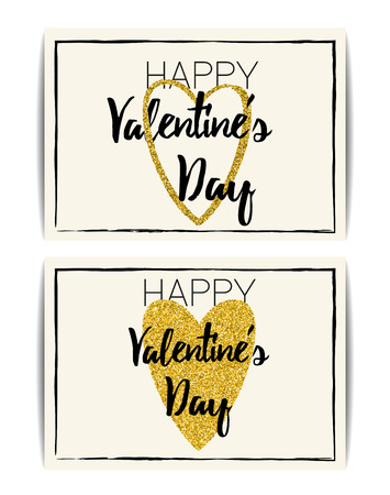 glitter heart: Set of typographic Valentine cards with love symbol. Happy Valentines day text. Golden glitter heart. Design for banner, invitation, t-shirt, labels, postcards. Vector EPS10 illustration.