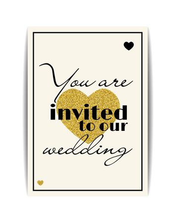 you are invited: Typographic wedding invitation with love symbol. You are invited text. Golden texture heart with glitter sequins. Premium party invitation and cards design. Vector EPS10 illustration.