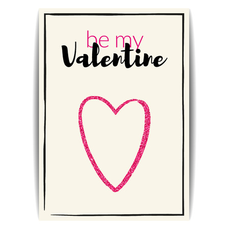 text pink: Typographic Valentine card with love symbol. Be my Valentine text. Pink heart with glitter sequins. Design for party invitation, banners, labels, postcards. Vector EPS10 illustration. Illustration