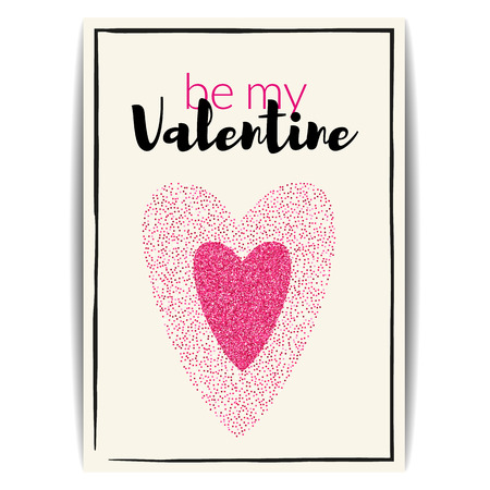 text pink: Typographic Valentine card with love symbol. Be my Valentine text. Pink hearts with glitter sequins. Design for party invitation, banners, labels, postcards. Vector EPS10 illustration.