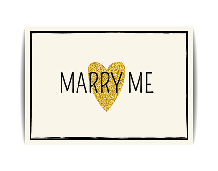 golden texture: Typographic wedding card with love symbol. Marry me text. Golden texture with glitter sequins. Valentine card or wedding invitation, t-shirt, labels, postcards. Vector EPS10 illustration. Illustration