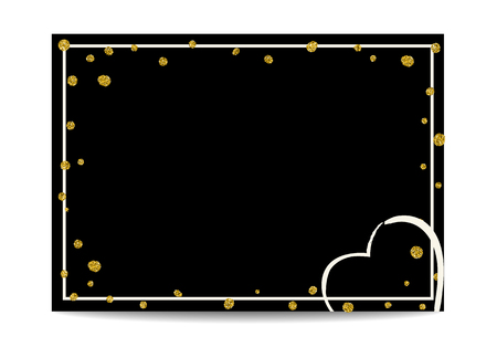 Empty black template with love symbol. Golden texture dots with glitter sequins. Place for text. Design for Valentine card or wedding invitation, flyers, labels, postcards. Vector EPS10 illustration.