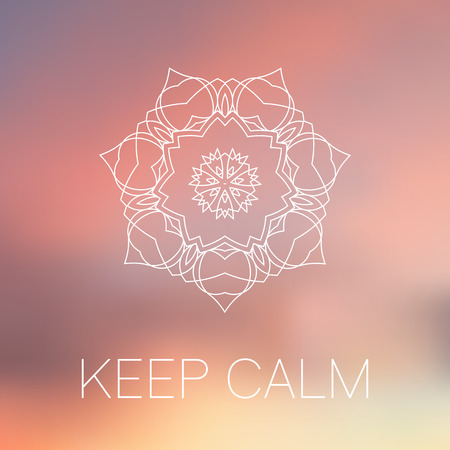 White mandala on blurred background. Yoga motivational poster. Keep calm. Blur sunrise colors. Sacred geometry ornament. Indian decorative element. Inspiration quote.