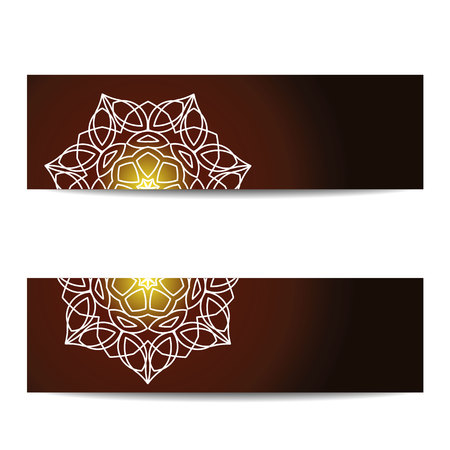 sacral: Banners set with shiny floral mandalas. Sacred geometry. Ethnic ornament. Indian traditional decorative elements. Design for yoga studio , card, invitation.