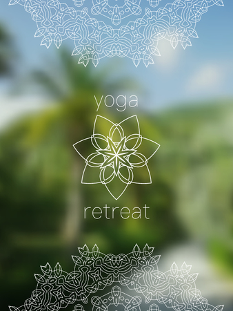 tantra: Tropical yoga retreat banner. Sacred geometry mandala on realistic tropic background. Sunny jungle. Good for yoga studio, tantra or meditation resort,  card, invitation. Illustration