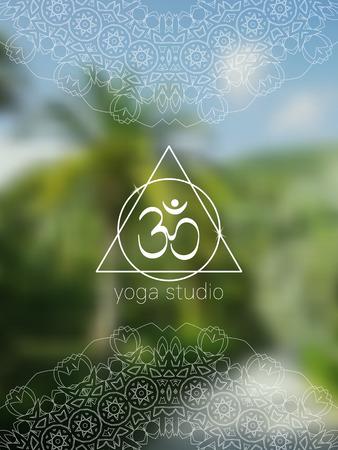tantra: Tropical yoga with om symbol. Sacred geometry mandala on realistic tropic background. Sunny jungle. Good for yoga studio, tantra or meditation resort, card. Illustration