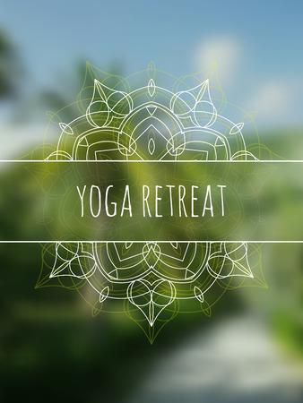 tantra: Tropical yoga retreat . Sacred geometry mandala on realistic tropic background. Sunny jungle. Good for yoga studio, tantra or meditation resort, invitation.