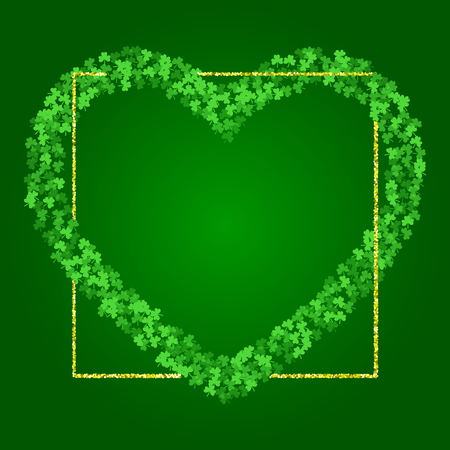 Square Saint Patricks Day background with green clover confetti. Heart shape frame of shamrock leaves and golden glitter. Template for greeting card design, banner, flyer, party invitation. Illustration