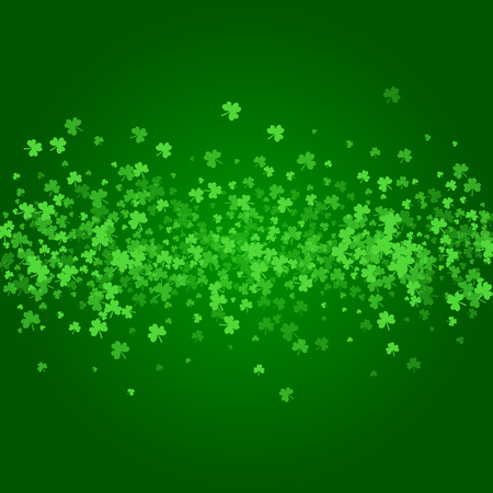 patrick's: Square Saint Patricks Day background with green clover confetti. Stripe of shamrock leaves. Wide bar of trefoils. Template for greeting card design, banner, flyer, party invitation.