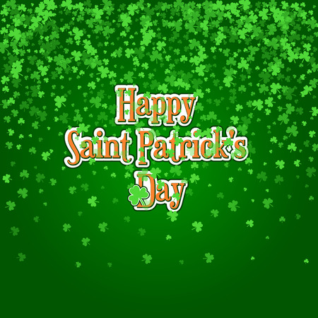 Square Saint Patricks Day background with green clover confetti. Raining shamrock leaves with typographic label. Template for greeting card design, banner, flyer, party invitation.