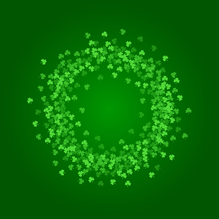 patrick's: Square Saint Patricks Day background with green clover confetti. Wreath of shamrock leaves. Torus shape frame. Template for greeting card design, banner, flyer, party invitation.
