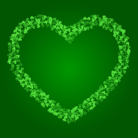 Square Saint Patricks Day background with green clover confetti. Heart shape frame of shamrock leaves. Template for greeting card design, banner, flyer, party invitation. Illustration