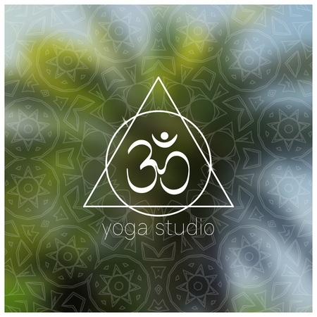 tantra: Tropical yoga banner with om symbol. Sacred geometry mandala on realistic tropic background. Sunny jungle. Good for yoga studio, tantra or meditation resort, flyer, card. Vector EPS10 illustration.