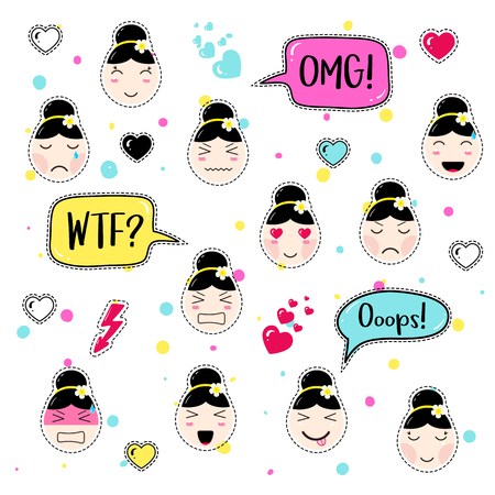 ooops: Cute patch badges. Girl emoji with different emotions and hairstyles. Kawaii emoticons, speech bubbles omg, wtf, ooops. Set of stickers, pins in anime style. Isolated vector illustration. Illustration