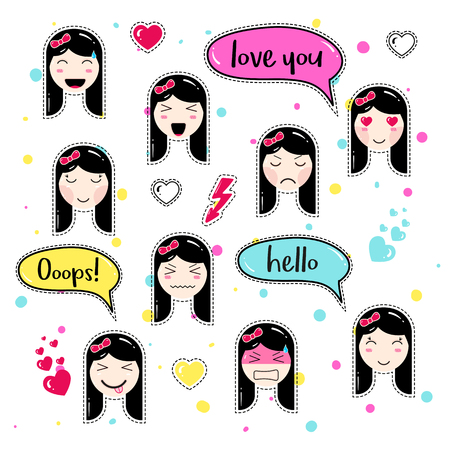 ooops: Set of cute patch badges. Girl emoji with different emotions and hairstyles. Kawaii emoticons, speech bubbles. Set of stickers, pins in anime style. Isolated vector illustration.