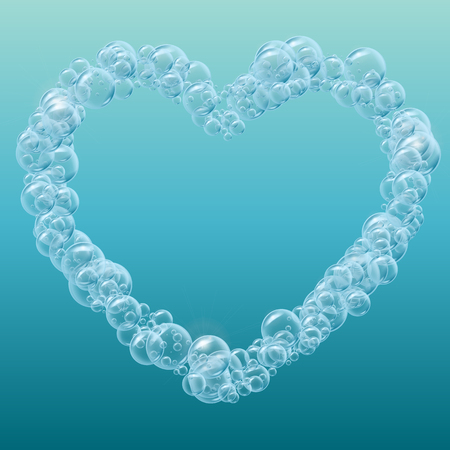 Heart of cleaning foam or shampoo bubbles. Template for web site background, flyer, banner. Good for aqua park, swimming pool, diving club design. Deep sea with bubbles and sprays underwater. Иллюстрация