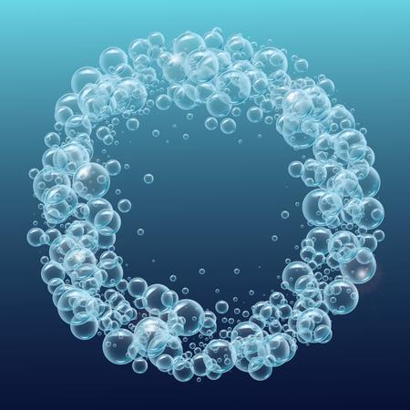 Cornice rotonda di bolle d'acqua realistiche. Modello per parco acquatico, piscina, design di club subacqueo. Buono per biglietto di auguri, banner, flyer, invito a una festa. Mare profondo con bolle e spruzzi sott'acqua.