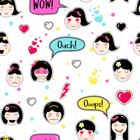 tillable: Anime style seamless pattern. Cute emoji girls. patch badges. Tillable background for fabric, textile, craft, embroidery, scrapbook. Manga girls with speech bubbles, different faces and hair.