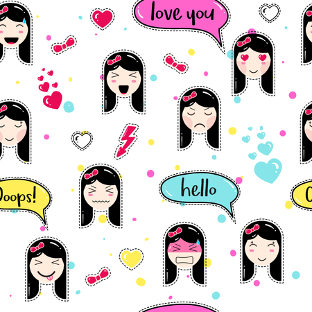 tillable: Emoji seamless pattern in anime style with cute girls. patch badges. Tillable background for fabric, textile, wrapping or wallpaper. Stickers with manga emoji girls. Different faces and hairs. Illustration