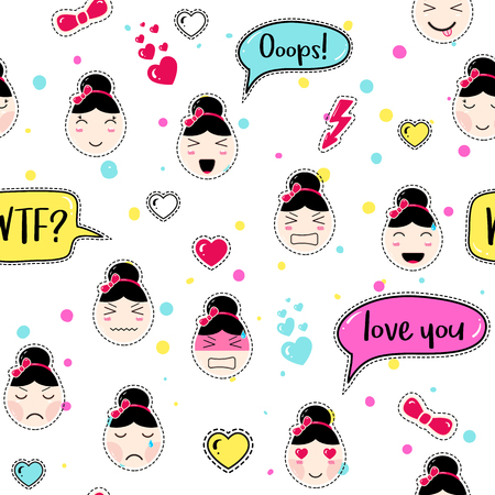 tillable: Asian style seamless pattern with anime emoticons girls. Tillable background for fabric, print, textile, wrapping paper or wallpaper. Cute girls with speech bubbles and different moods and hairstyles.