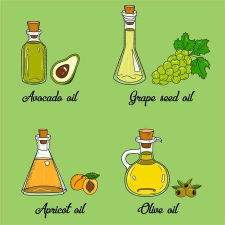 4 cooking oils in cute sketchy bottles. Hand drawn doodle set of edible vegetable food oil. With origin products olive, apricot, grape seed, avocado.