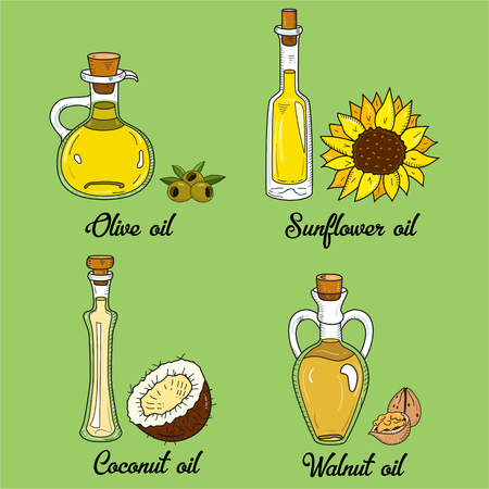 unsaturated: 4 cooking oils in cute sketchy bottles. Hand drawn doodle set of edible vegetable food oil. With origin products olive, walnut, coconut and sunflower.
