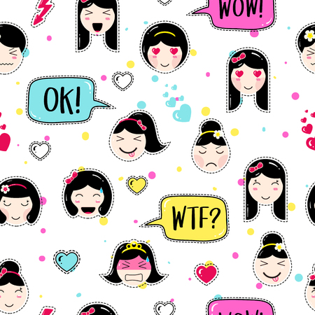 tillable: Emoji seamless pattern in asian style with anime emoticons girls. Tillable background for fabric, print, textile, wrapping paper or wallpaper, craft, scrapbook. Cute emoji girls with speech bubbles