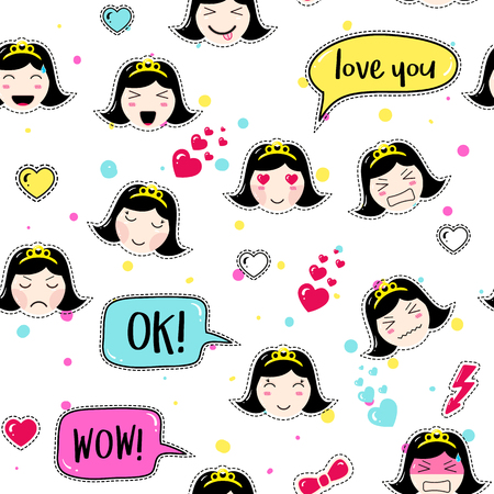tillable: Emoji seamless pattern in asian style with anime emoticons girls. Tillable background for fabric, print, textile, wrapping paper or wallpaper. Cute girls emoji stickers with speech bubbles and hearts.