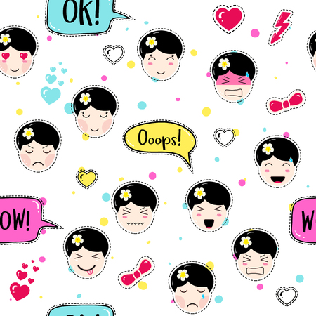 tillable: Emoji seamless pattern in anime style with cute girls. Kawaii patch badges. Tillable background for fabric, textile, wrapping or wallpaper. Stickers with manga emoji girls. Different faces and hairs.