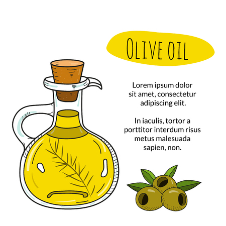 decanter: Colorful hand drawn olive oil bottle with sample text. Isolated cute decanter with healthy cooking oil and olives. Sketchy cartoon illustration for restaurant, organic shop banner, flyer, coupon.
