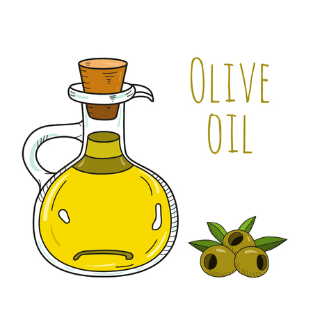 decanter: Colorful hand drawn olive oil bottle. Isolated cute decanter with healthy cooking oil and olives. Sketchy cartoon illustration for restaurant, organic shop. Glass jug with cork. Illustration