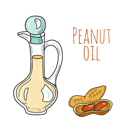 pressed: Colorful hand drawn peanut oil bottle. Isolated cute decanter with healthy cooking oil and peanut. Sketchy cartoon illustration for aroma therapy, cosmetic, organic shop. Glass jug. Illustration