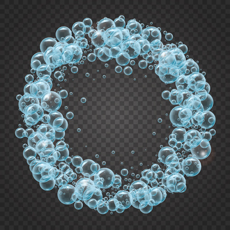 Shampoo round frame of cool water bubbles on transparent background. Cleaning liquid soap foam. For banner, flyer, invitation. Swimming pool, aqua park, diving.