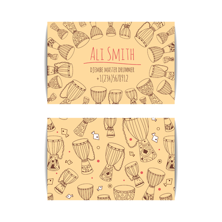 djembe: African drum visit card. Djembe master drummer business card. Isolated beige template with zulu ornament. Warm ethnic colors. Hand drawn doodle set for african musician, teacher, master.