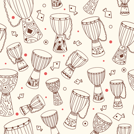 tillable: Hand drawn african drums djembe. Ethnic seamless pattern. Vector sketchy texture. Tillable african background with drums for fabric, textile design, wrapping paper or wallpaper.