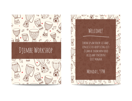 djembe: African drums banner with zulu ornament. Djembe pattern. Sketchy design decorated with african ethnic instruments. Hand drawn doodles. Design set for percussion school, drum classes or jam. Illustration