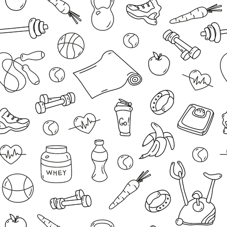 tillable: Seamless pattern with isolated fitness doodles. Hand drawn tillable background for fabric, textile, wrapping paper. Sketchy gym equipment sneaker, dumbbell, mat, scales, barbell, cycle shaker balls