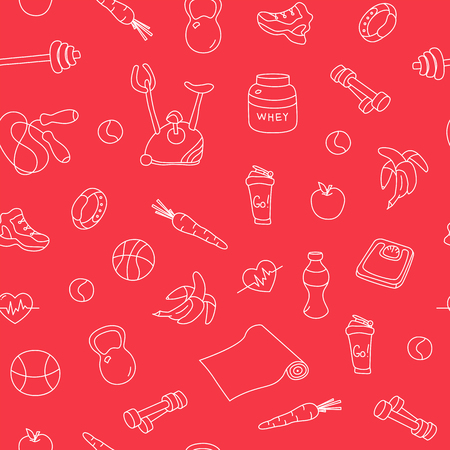 tillable: Seamless pattern with fitness doodles on red background. Hand drawn tillable texture. Sketchy gym equipment for workout, yoga, healthy lifestyle sneaker, barbell, cycle, shaker, balls, healthy food