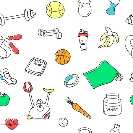 tillable: Seamless pattern with colorful fitness doodles. Hand drawn tillable background. Sketchy gym equipment for workout and training sneaker, dumbbell, barbell, mat, cycle, shaker, balls, healthy food