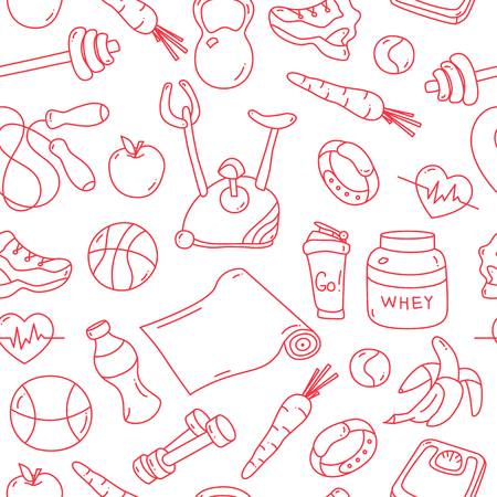 gym equipment: Seamless Pattern with isolated red fitness doodles. Hand drawn tillable background. Sketchy gym equipment for workout, yoga, healthy lifestyle sneaker, mat, barbell, cycle, shaker, ball, healthy food