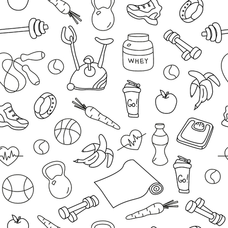 gym equipment: Seamless pattern with isolated fitness doodles. Hand drawn tillable background. Sketchy gym equipment for workout and training sneaker, dumbbell, mat, barbell, cycle, shaker, balls, healthy food