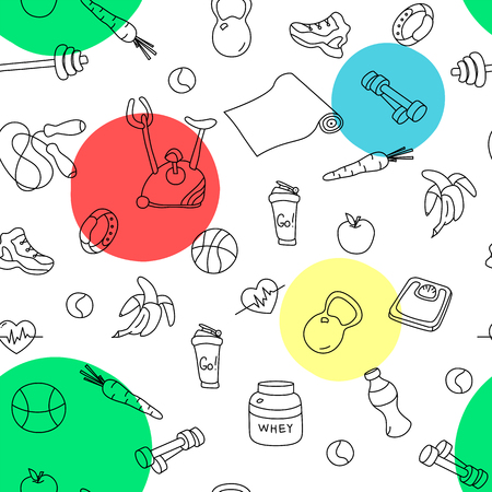 tillable: Seamless pattern with colorful spots and fitness doodles. Hand drawn tillable background. Sketchy gym equipment for workout and training sneaker, dumbbell, mat, cycle, shaker, balls, healthy food