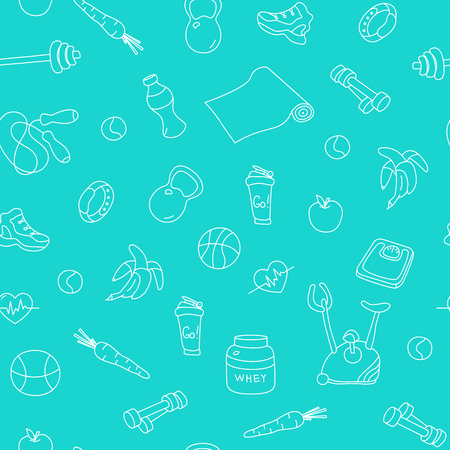 tillable: Seamless pattern with fitness doodles on blue background. Hand drawn tillable design for fabric, textile, wrapping paper. Sketchy gym equipment sneaker, dumbbell, mat, barbell, cycle, shaker, balls Illustration